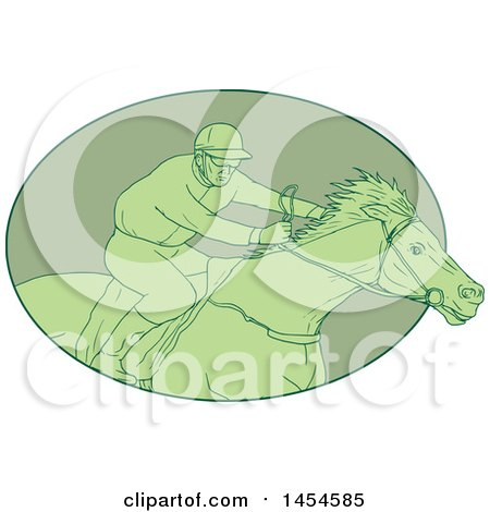 Clipart Graphic of a Drawing Sketch Styled Green Male Jockey Racing a Horse in an Oval - Royalty Free Vector Illustration by patrimonio