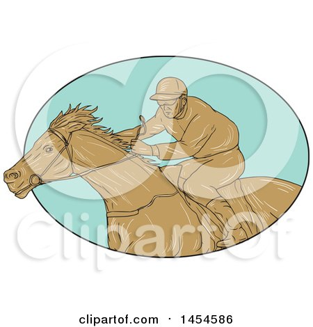 Clipart Graphic of a Drawing Sketch Styled Male Jockey Racing a Horse in a Turquoise Oval - Royalty Free Vector Illustration by patrimonio