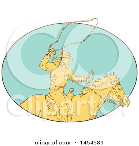 Clipart Graphic of a Drawing Sketch Styled Cowboy Swinging a Lasso on Horseback, in a Turquoise Oval - Royalty Free Vector Illustration by patrimonio