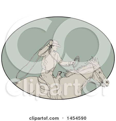 Drawing Sketch Styled Cowboy Swinging a Lasso on Horseback, in a Green Oval Posters, Art Prints