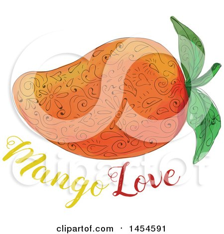 Clipart Graphic of a Mandala Styled Mango over Text - Royalty Free Vector Illustration by patrimonio