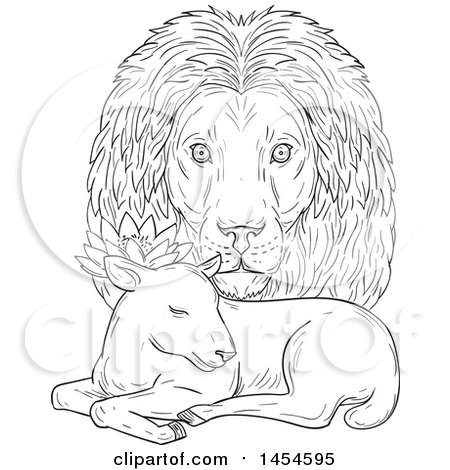 Clipart Graphic of a Black and White Sketchd Lion Head Looking over a Sleeping Lamb - Royalty Free Vector Illustration by patrimonio