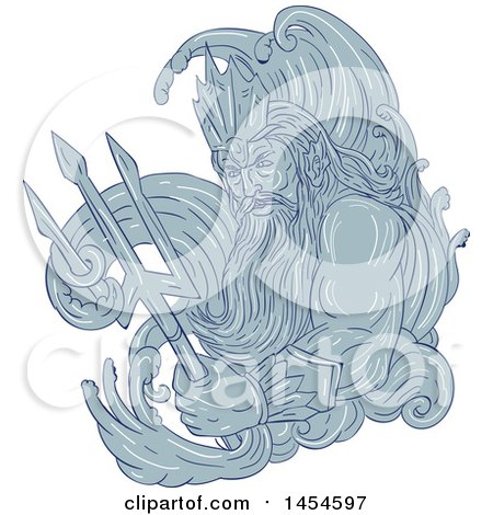 Clipart Graphic of a Drawing Sketch Styled God, Poseidon, with Sea Waves and a Trident - Royalty Free Vector Illustration by patrimonio