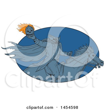 Clipart Graphic of a Drawing Sketch Styled Headless Horseman Holding a Flaming Pumpkin Head in a Blue Oval - Royalty Free Vector Illustration by patrimonio
