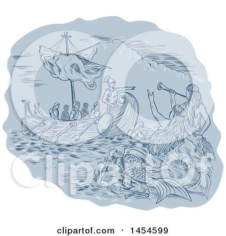 Clipart Graphic of a Sketched Drawing of Siren Mermaids Calling to a Greek Ship at Sea - Royalty Free Vector Illustration by patrimonio