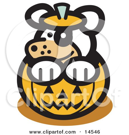 Cute Dog Inside a Halloween Pumpkin Clipart Illustration by Andy Nortnik