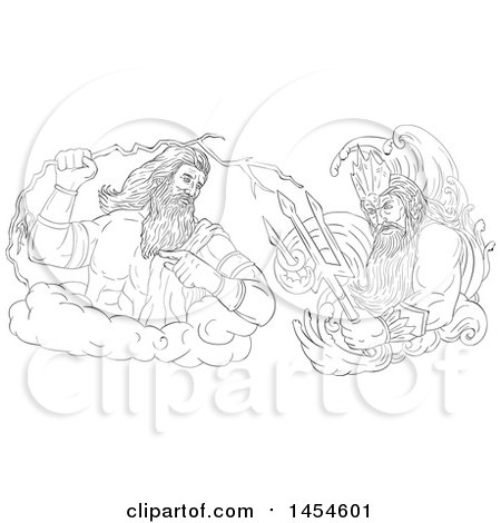 Clipart Graphic of a Black and White Sketched God, Zeus, Holding a Thunderbolt, Vs Poseidon Holding a Trident - Royalty Free Vector Illustration by patrimonio