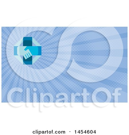 Retro Blue Cross with Shaking Hands and Blue Rays Background or Business Card Design Posters, Art Prints