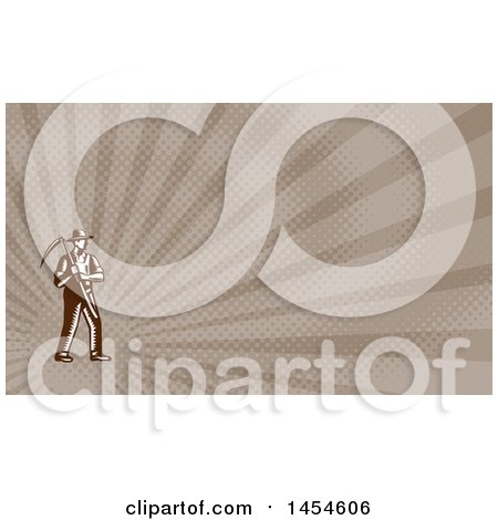 Clipart of a Retro Brown and White Woodcut Male Farmer Holding a Scythe and Brown Rays Background or Business Card Design - Royalty Free Illustration by patrimonio