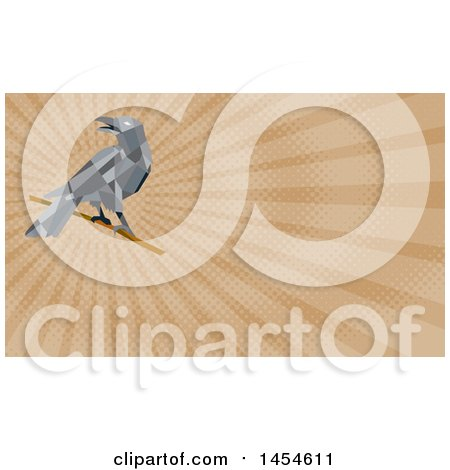 Clipart of a Geometric Low Polygon Styled Crow on a Branch and Brown Rays Background or Business Card Design - Royalty Free Illustration by patrimonio