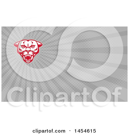 Clipart of a Retro Fierce Mountain Lion Puma Cougar Face and Gray Rays Background or Business Card Design - Royalty Free Illustration by patrimonio