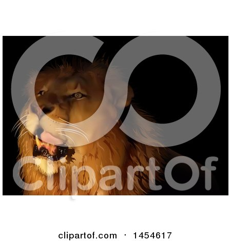 Clipart Graphic of a Male Lion in the Darkness - Royalty Free Vector Illustration by dero