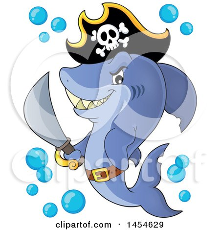 Clipart Graphic of a Cartoon Pirate Captain Shark Holding a Sword - Royalty Free Vector Illustration by visekart
