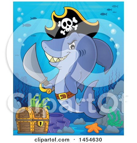 Clipart Graphic of a Cartoon Pirate Captain Shark Holding a Sword by a Sunken Treasure Chest - Royalty Free Vector Illustration by visekart