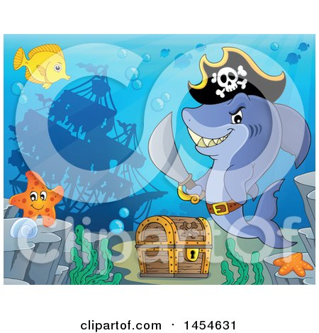 Clipart Graphic of a Cartoon Pirate Captain Shark Holding a Sword by a Sunken Ship and Treasure Chest - Royalty Free Vector Illustration by visekart