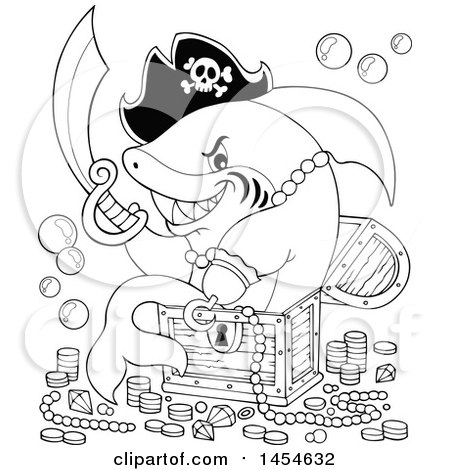 Clipart Graphic of a Cartoon Black and White Pirate Captain Shark Holding a Sword and Sitting on Treasure - Royalty Free Vector Illustration by visekart