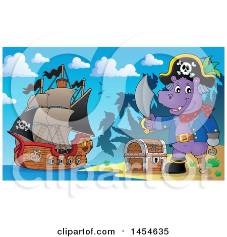 Clipart Graphic of a Cartoon Hippo Captain Pirate Holding a Sword by a Treasure Chest on an Island - Royalty Free Vector Illustration by visekart