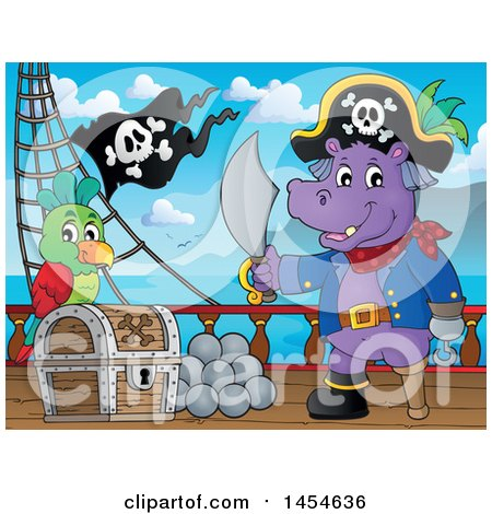 Clipart Graphic of a Cartoon Hippo Captain Pirate Holding a Sword by a Treasure Chest on a Ship Deck - Royalty Free Vector Illustration by visekart