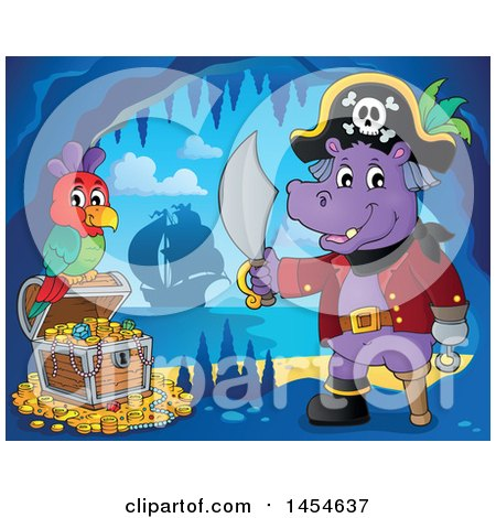 Clipart Graphic of a Cartoon Hippo Captain Pirate Holding a Sword by a Treasure Chest in a Cave - Royalty Free Vector Illustration by visekart