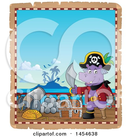 Clipart Graphic of a Parchment Border of a Hippo Captain Pirate Holding a Sword by a Treasure Chest on a Ship Deck - Royalty Free Vector Illustration by visekart