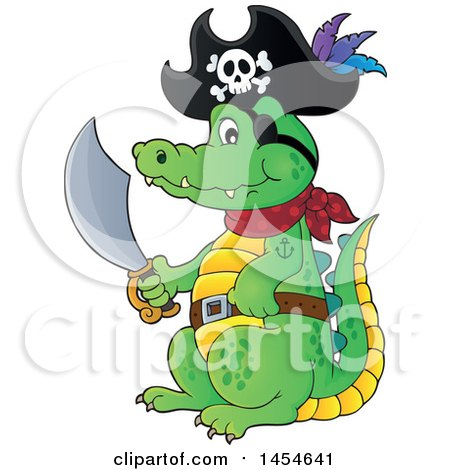 Clipart Graphic of a Cartoon Crocodile Pirate Holding a Sword - Royalty Free Vector Illustration by visekart