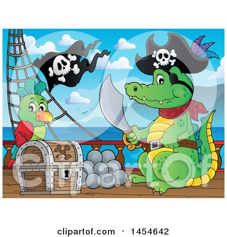 Clipart Graphic of a Cartoon Crocodile Pirate Holding a Sword by a Treasure Chest on a Ship Deck - Royalty Free Vector Illustration by visekart