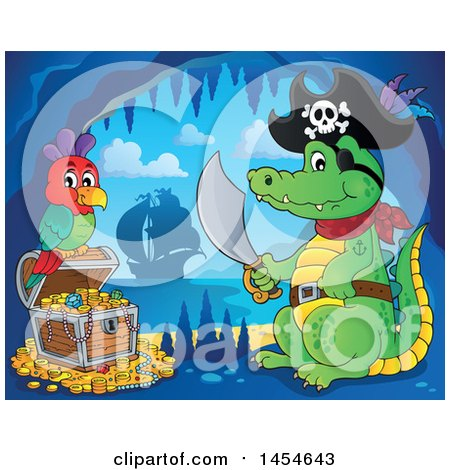 Clipart Graphic of a Cartoon Crocodile Pirate Holding a Sword by a Treasure Chest in a Cave - Royalty Free Vector Illustration by visekart