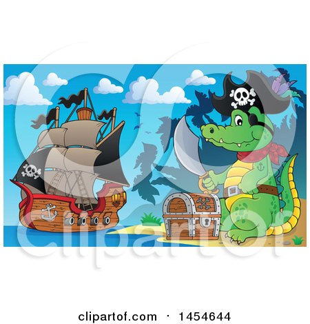 Clipart Graphic of a Cartoon Crocodile Pirate Holding a Sword by a Treasure Chest on an Island - Royalty Free Vector Illustration by visekart