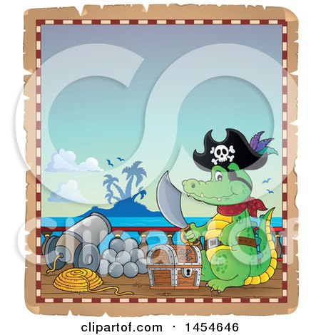 Clipart Graphic of a Parchment Border of a Crocodile Pirate Holding a Sword by a Treasure Chest on a Ship Deck - Royalty Free Vector Illustration by visekart