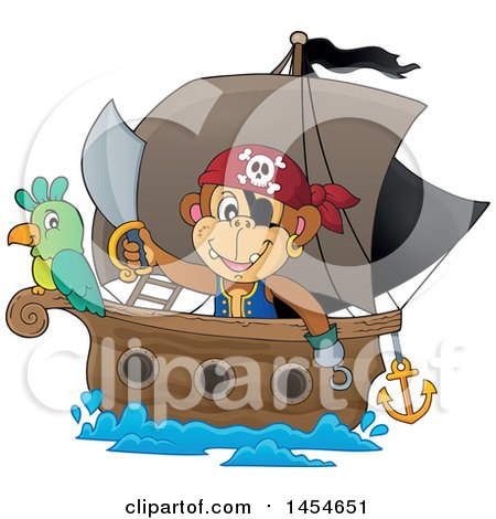 Clipart Graphic of a Cartoon Monkey Pirate Holding a Sword on a Ship with a Parrot - Royalty Free Vector Illustration by visekart