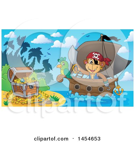 Clipart Graphic of a Cartoon Monkey Pirate Holding a Sword on a Ship with a Parrot near a Beach with Treasure - Royalty Free Vector Illustration by visekart