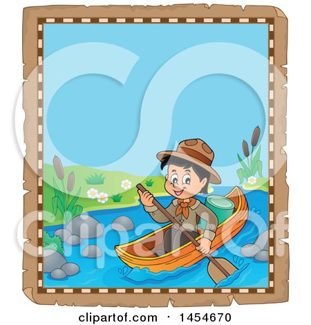 Clipart Graphic of a Parchment Border of a Happy Scout Boy Rowing a Boat - Royalty Free Vector Illustration by visekart