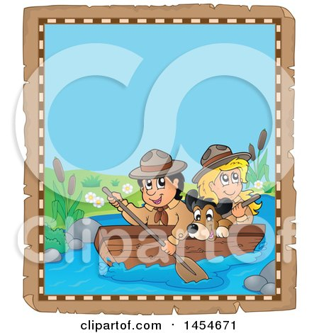 Clipart Graphic of a Parchment Border of a Happy Scout Boy Rowing a Boat with a Girl and Dog on Boad - Royalty Free Vector Illustration by visekart