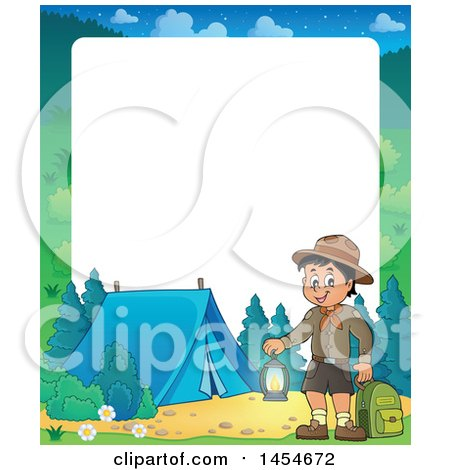 Clipart Graphic of a Border of a Scout Boy Holding a Lantern and Backpack at a Camping Site - Royalty Free Vector Illustration by visekart