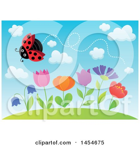 Clipart Graphic of a Row of Spring Flowers Growing on a Hill and a Flying Ladybug Against Blue Sky - Royalty Free Vector Illustration by visekart