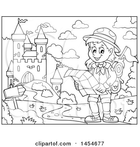 Clipart Graphic Of A Black And White Hiking Scout Girl Reading A Map Near A  Castle   Royalty Free Vector Illustration By Visekart