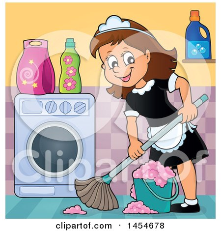 Clipart Graphic of a Happy Brunette White Female Maid Mopping in a Laundry Room - Royalty Free Vector Illustration by visekart