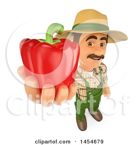 Clipart Graphic of a 3d Farmer Man Holding up a Red Bell Pepper, on a White Background - Royalty Free Illustration by Texelart