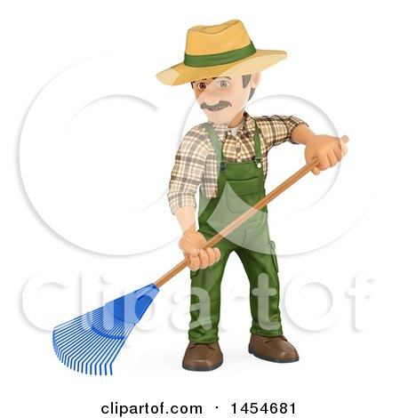 Clipart Graphic of a 3d Gardener Man Using a Rake, on a White Background - Royalty Free Illustration by Texelart
