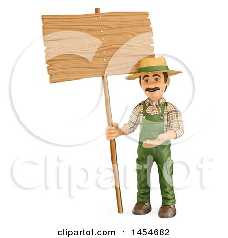 Clipart Graphic of a 3d Gardener Man with a Blank Sign, on a White Background - Royalty Free Illustration by Texelart