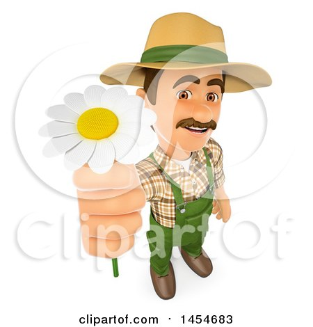Clipart Graphic of a 3d Gardener Man Holdig up a Daisy Flower, on a White Background - Royalty Free Illustration by Texelart