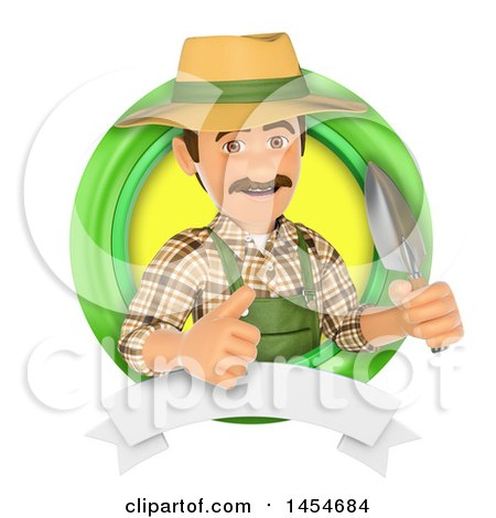 Clipart Graphic of a 3d Gardener Man Holding a Spade in a Green Circle Logo with a Blank Banner, on a White Background - Royalty Free Illustration by Texelart