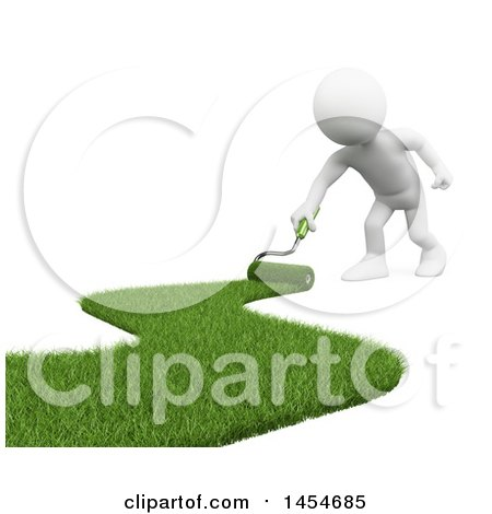 Clipart Graphic of a 3d White Man Landscaper Painting Green Grass, on a White Background - Royalty Free Illustration by Texelart