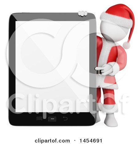 Clipart Graphic of a 3d White Man Santa Presenting a Tablet with a Blank Screen, on a White Background - Royalty Free Illustration by Texelart