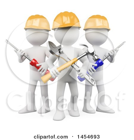 Clipart Graphic of a 3d White Man Contractor Team Holding Tools, on a White Background - Royalty Free Illustration by Texelart