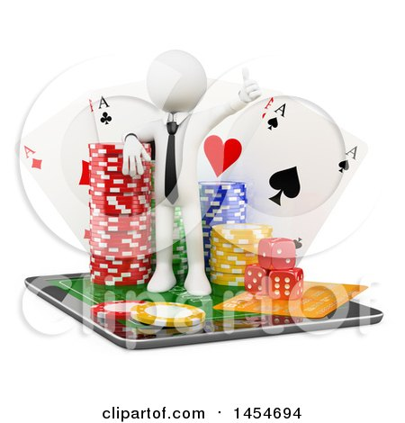 Clipart Graphic of a 3d White Man with Casino Poker Chips, Dice and Playing Cards on Top of a Tablet Computer, on a White Background - Royalty Free Illustration by Texelart