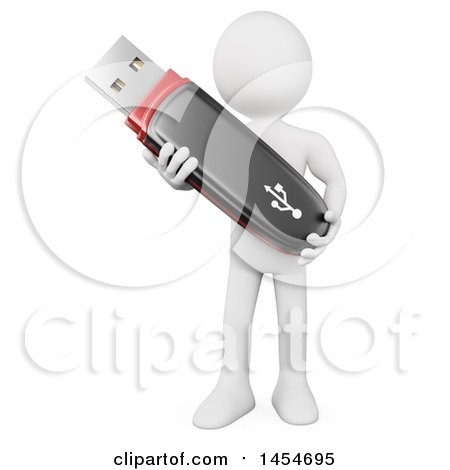 Clipart Graphic of a 3d White Man Holding a Usb Flash Drive, on a White Background - Royalty Free Illustration by Texelart