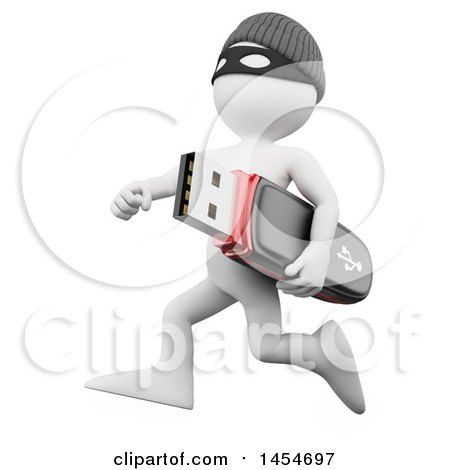 Clipart Graphic of a 3d White Man Robber Running with a Stolen Usb Stick, on a White Background - Royalty Free Illustration by Texelart