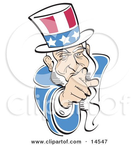 American Uncle Sam Pointing Out at the Viewer Clipart Illustration by Andy Nortnik