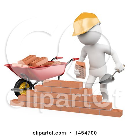Clipart Graphic of a 3d White Man Mason Stacking Bricks, on a White Background - Royalty Free Illustration by Texelart